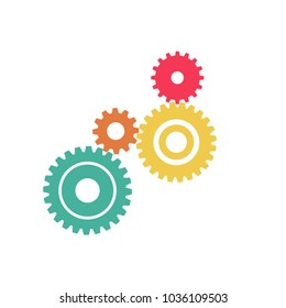 Abstract Color gear beautiful,four pieces gears set icon on background.Vector illustration