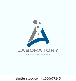 Abstract color lab logo . letter A vector laboratory, chemical, medical test logo, icon.Colorful modern design with bulbs and bottles,science lab logo, illustration of atomic nucleus vector design,
