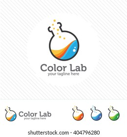 Abstract color lab logo . vector laboratory, chemical, medical test logo, icon.Colorful modern design with bulbs and bottles.