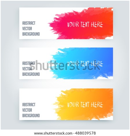 Abstract Color Paint Splashes Set Design Stock Vector