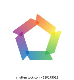 abstract color pentagonal vector logo