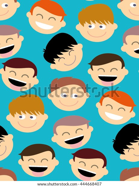Abstract Color Seamless Pattern Laughing Cartoon Stock Image