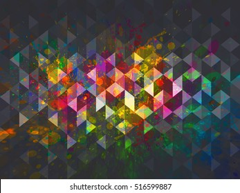 Abstract color splash illustration with geometric triangle shapes design. Vector background.