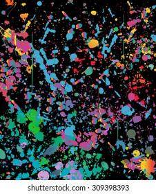 Abstract color splash illustration on black background. (NO TRANSPARENCY)