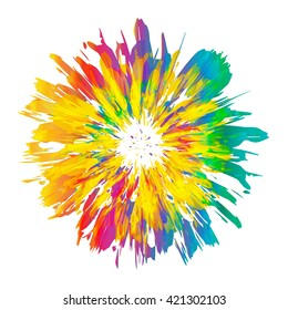 Abstract color splash and isolated flower illustration.