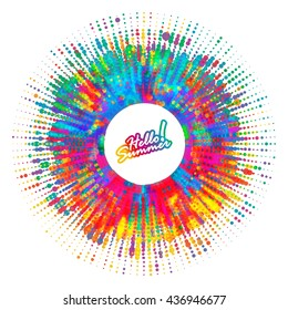 Abstract color splash, spray background. Artistic ad banner design for your message. Hello Summer!