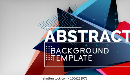 Abstract color triangles geometric background. Mosaic triangular low poly style. Vector illustration