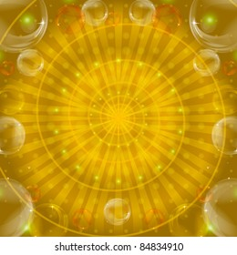 Abstract color vector eps10 pattern, lines and bubbles on yellow background