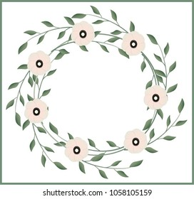 Abstract, color vector illustration of flowers and leaves on a white background