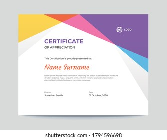 Abstract colored blue, pink, purple and Yellow shapes certificate design