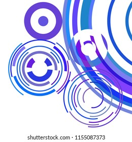Abstract colored circles, lines, on white background, vector, business