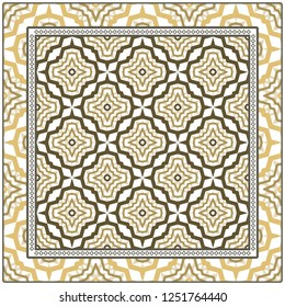 Abstract Colored Geometric Pattern. Ornament With Decorative Frame, Border. Vector Illustration. Line Art, Lace, Background