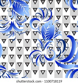 Abstract colored graphic pattern. Geometric ornament with flowers, . Line art, with blue lace botanica, embroidery background. Bandanna, shawl, scarf, tablecloth design for textile fabric print