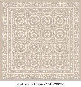 Abstract colored graphic pattern. Geometric ornament with frame, border. Line art, lace, embroidery background. Bandanna, shawl, scarf, tablecloth design for textile fabric print