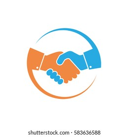 Abstract colored handshake icon. Handshake sign in the circle, on white background. Vector illustration.