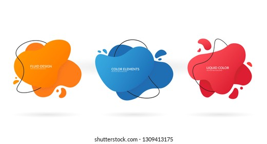 Abstract colored liquid shape. Fluid dynamic set with color geomethric form and outline. Vector illustration isolated on white background. EPS 10.