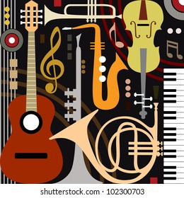 Abstract colored music instruments, full scalable vector graphic, change the colors as you like.