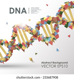 Abstract colored polygonal design concept background DNA. Vector business medical illustration