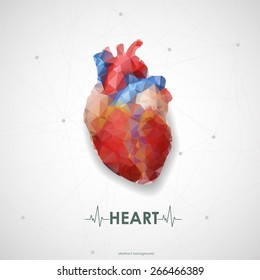 Abstract colored polygonal triangular human heart. Vector illustration