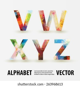 Abstract colored polygonal triangular modern alphabet design background. Vector illustration - part 4