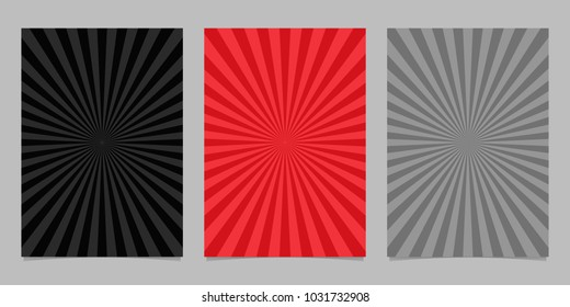 Abstract colored ray burst pattern brochure template set - vector page background design