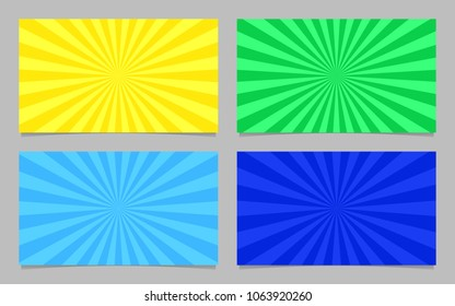Abstract colored ray burst pattern card background template set