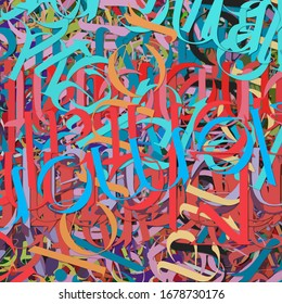 Abstract colored texture of chaotic brush strokes for design of wallpaper, poster, illustration