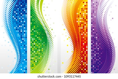 Abstract colored vertical design banners. Four abstract background.