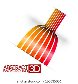 Abstract colorful 3d stripes vector background