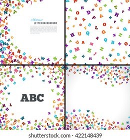 Abstract colorful alphabet ornament patterns isolated on white background. Vector illustration for bright education collection design. Random letters fly. Book concept set for grammar school