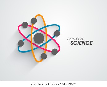 Abstract colorful atom, molar science concept on grey background.