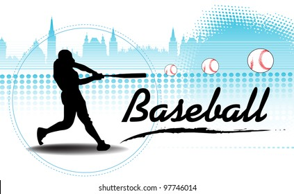 Abstract colorful background with black baseball player silhouette training and hitting some balls far away