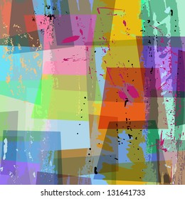 abstract colorful background composition, with strokes and splashes, halftone,