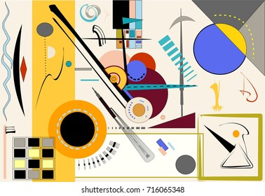 abstract colorful background , fancy  geometric  and curved shapes on beige