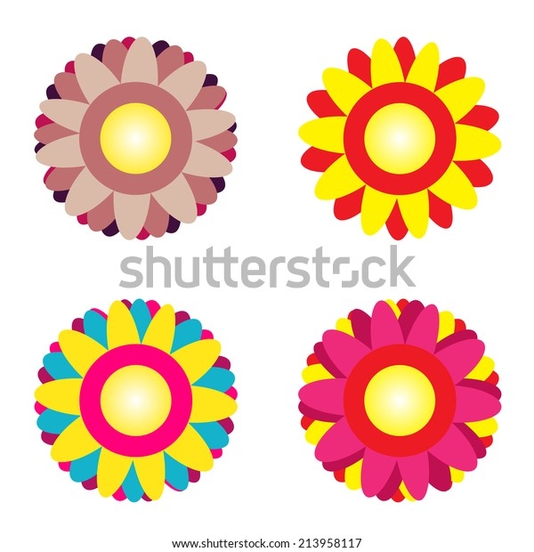 Abstract Colorful Background Flowers Vector Illustration