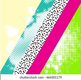 Abstract colorful background with geometric elements.Trendy geometric elements memphis cards. Retro style texture, pattern and geometric elements. Modern abstract design poster, cover, card design.