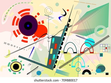 Abstract   colorful  background ,inspired by the  painter kandinsky