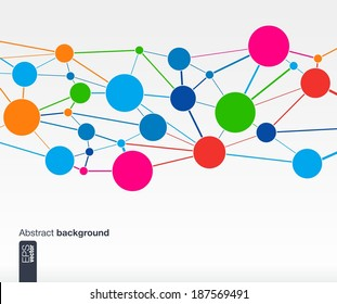 Abstract colorful background with lines and circles. Web, network, computer, connect and technology concepts. Futuristic Vector illustration.