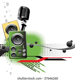 Abstract colorful background with microphone shape, two loudspeakers, black bubbles and green arrows. Music concept