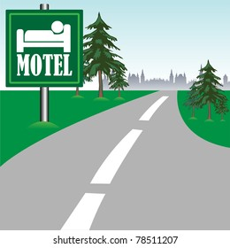 Abstract colorful background with motel sign near a road