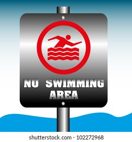 Abstract colorful background with a no swimming area sign near a water zone