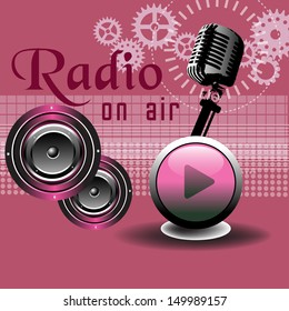 Abstract colorful background with old microphone, play button, loudspeakers and various modern elements. Radio theme