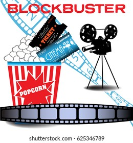 Abstract colorful background with popcorn, cinema tickets, film reel, movie projector and the text blockbuster written in red. Blockbuster movie concept