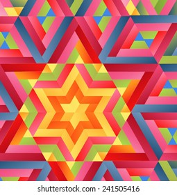 abstract colorful background with six pointed star. Vector
