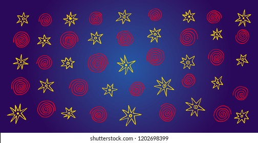 Abstract colorful background. Stars and spirals on a blue substrate. Vector hand drawing. Space and sky.