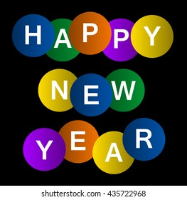 Abstract and colorful background with text Happy New Year.