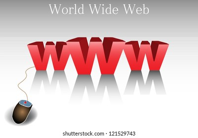 Abstract colorful background with three huge w letters written in red and connected to a computer mouse. World wide web concept