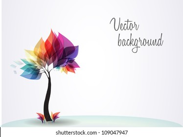 Abstract colorful background with tree. Vector. EPS 10