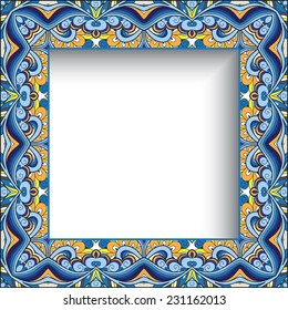 Abstract colorful background, vector ornamental square picture or photo frame, eps10