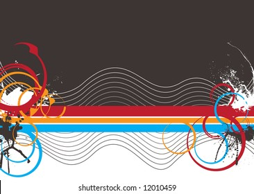 Abstract colorful background with wavy lines and copy space